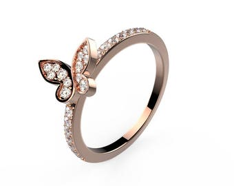 Mini butterfly wedding band - rose gold