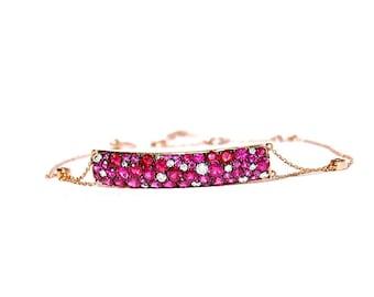 18k Rose Gold Pflastern Diamant & Rubin Bar Armband - * Maßanfertigung bestellen *