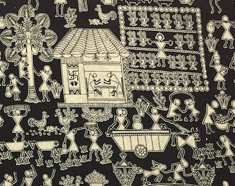 hand printed fabric, fabric by the yard, indian cotton fabric, kalamkari print, sewing fabric, dress fabric- 1 yard- ctin018