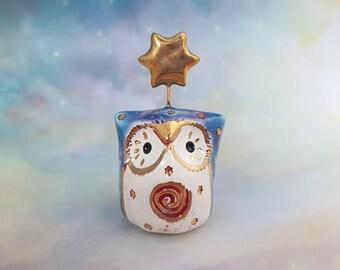 Speckled Blue Fairy Owl Ceramic Figurine