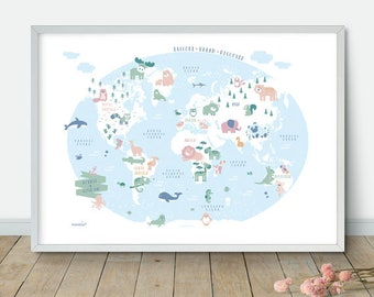 Nursery world map etsy my first world map nursery animal world map kids world map poster nursery world map nursery art kids room decor playroom map gumiabroncs Gallery