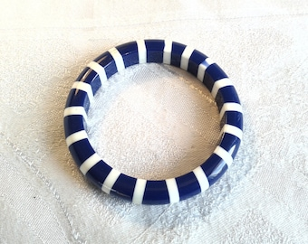 Striking Vintage Navy Blue and White Lucite Bangle, Sailor, Nautical Theme.