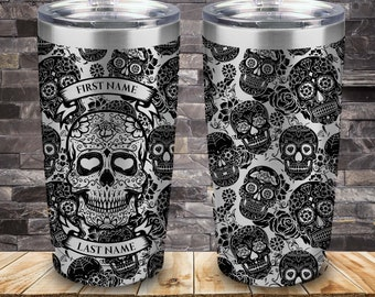 Laser Engraved tumber Black Sugar Skull with Name, 20 Ounce