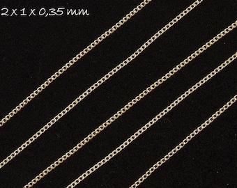 Chain silver, fine, 2 x 1 mm