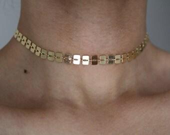 Geo Link 16K Gold Plated Choker - Gold Choker - Gold Necklace  - Gold Chain Choker - Gold Chain Necklace - Chain Choker