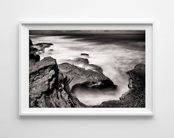 San Diego Art - Black and White Landscape Photography, Point Loma Cabrillo Tide Pool Beach Decor - Small and Large Wall Art Prints Available