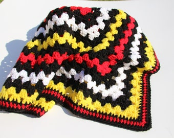 Mickey Mouse Blanket, Crochet Baby Blanket, Handmade Blanket, Granny Square, Crochet Blanket, Red Black Yellow Photo Prop Birthday Gift Sale