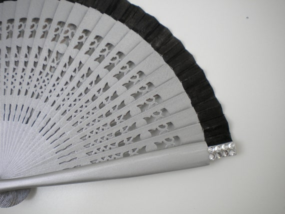 19cm Silver and Black Bling Hand Fan Hand Bag Size MTO