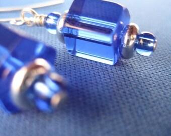 Cobalt Crystal Hex Drop Earrings