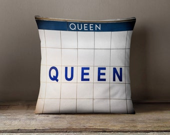Toronto Subway Sign Pillow - Queen Station - Blue Home Decor, Subway Art, Made in Canada Retro Decor - 16x16 or 20x20 Throw Pillow Cover