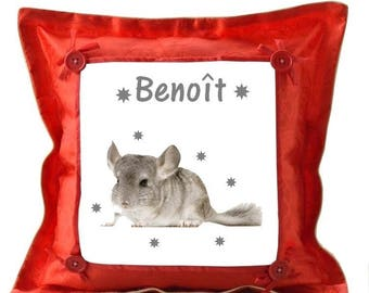 Red pillow personalized with name Chinchilla