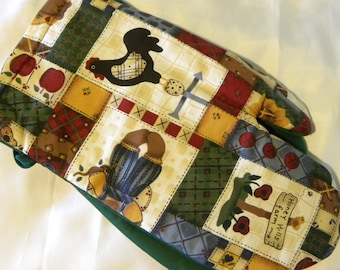 Oven Mitts Country Rustic Patchwork Bears Honey Bees Hearts Rooster Weather Vane Chickens Sunflower Pot Holder Oven Mitts Vintage Cotton