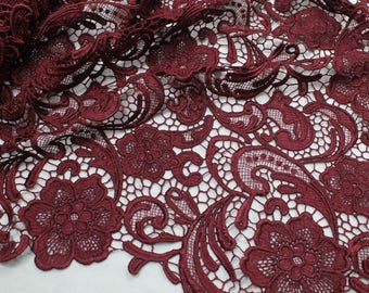 Maggie BURGUNDY Guipure Venice Heavy Lace Fabric by the Yard - 10019