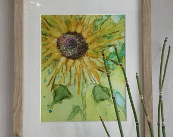 Alcohol Ink Sunflower Painting with Frame