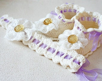 CROCHET PATTERN - Young Lady Booties and Headband