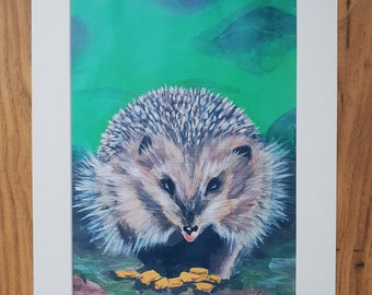 Munching Hedgehog A4 art print