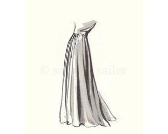 FLASH SALE til MIDNIGHT Vintage Fashion Sketch Dress 4, Girls Room decor, nursery decor, neutral tones, grey, cream, girls room prints