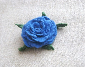 Brooch Felted Blue  Rose -  Ready to ship. Gift under 25. Gift for her