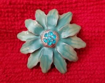 1950s Enamel Flower Brooch