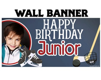 Hockey Party Banner ~ Personalized Birthday Banner, Photo Sports Banner, Hockey Custom Banner, 13th Birthday Banner, Tween Banners
