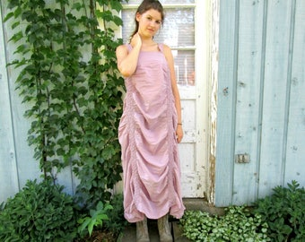 Dusty Rose Mauve Repurposed Cotton Ruched Tea Length Sundress// Large XL// Shabby Chic Dress// Summer// emmevielle
