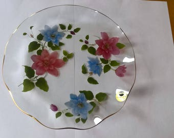 Beautiful Retro Chance Glass Plate with Clematis Flowers