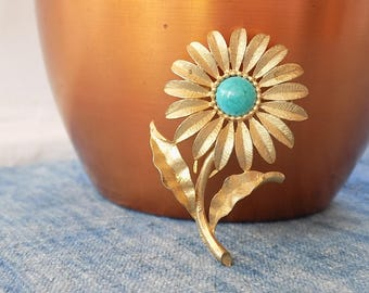 Vintage Signed Mamselle Brass and Brushed Gold Metal Flower Pin with Turquoise Center