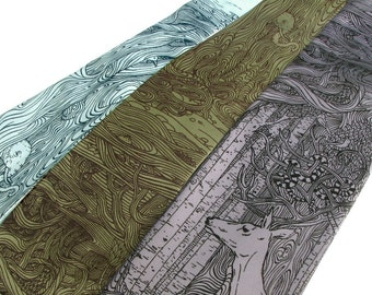 Neck Tie - Tangled Forest Necktie - Deer tie - Surreal Art - Unique Gift for Men