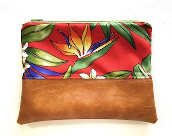 9x7 | Red Hot | Faux Leather Clutch, Makeup Bag, Vegan, Leather, Purse, Camel, Wristlet, Fold Over Clutch, Floral, Tropical