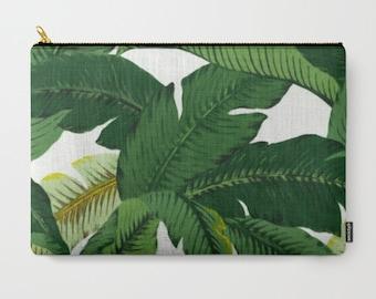 Banana Leaf Clutch, Palm Leaves Zipper Pouch, Palm Leaf Makeup Bag, Banana Leaves Bag, Swaying Palms, Beach Clutch, Tropical Wedding Clutch