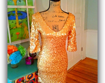 Gold Sequin Dress/ Valentine's day / Party dress/Cocktail  / Disco / Mini Dress / Sexy / Wedding / Clubwear / Special Occasion / Med