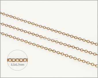 16 ft.+  Soldered Oval Cable Chain, Cross Chain - RAW Brass