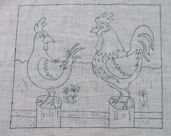 2 Chickens Rug Hooking Pattern