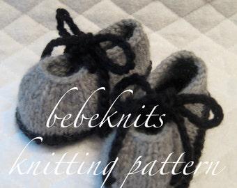 Bebeknits Simple Tie Up Bootie Knitting Pattern