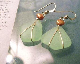 Sea Foam Sea Glass Earrings- 14k Gold Filled Wrapped- genuine sea glass earrings- spring