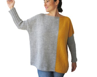NEW - Gray - Yellow Sweater Plus Size Over Size