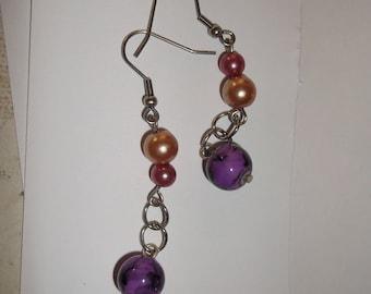 Purple Pearl Earring