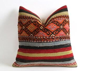 Decorative Kilim Pillow Covers 16x16 Striped orange kilim pillow