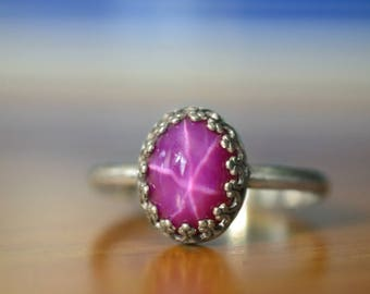 Star Ruby Ring, Handmade Sterling Silver Cocktail Ring, Simple Statement Ring, Purple Gemstone Ring, Lab Created Ruby, Anniversary Gift
