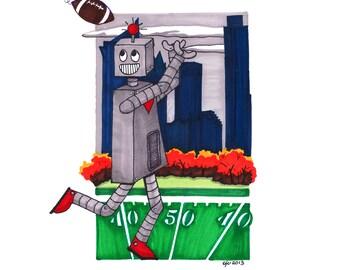 "robot football : GICLEE PRINT  11""X14"""