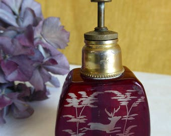 Antique Victorian Bohemian Ruby Red 1800th Perfume Bottle
