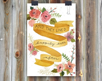 Happily Ever After / Handmade Watercolor Greeting Card / Wedding Card