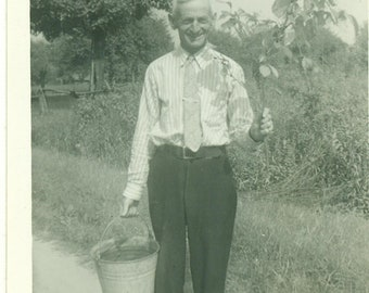 1950s The Flower Picker Man Holding Metal Pail Bucket Suit Tie Farm Outside 50s Vintage Photograph Black White Photo