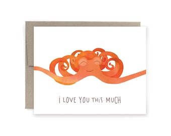 I Love You This Much Octopus Greeting Card, Valentine's Day Card, Funny Valentine's Day Card, Anniversary Card, Friendship Card