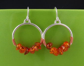Sterling Silver, Copper, and Amber Round Earrings, Handmade
