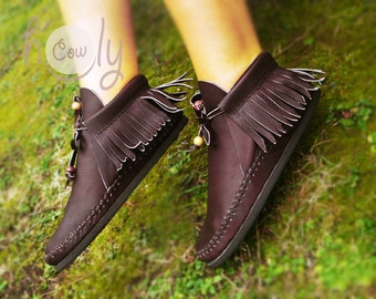 Hand Stitched Brown Moccasins, Womens Moccasins, Brown Leather Moccasins, Leather Boots, Mens Moccasins, Womens Boots, Brown Boots, Boots