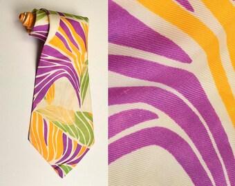 1970s Tie 70s Necktie Acetate Tropical Hawaiian Necktie Neck Tie Wide Damaged Costume Faded Vintage Man Mens