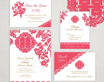 Diy printable chinese wedding invitation card template instant diy printable editable chinese wedding invitation save the datersvpthank you card templatecoral birds paper cut lacedouble happiness stopboris Gallery