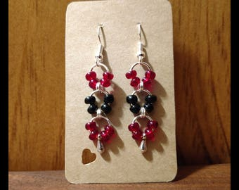Red, Black, and Silver Jump Ring Dangle Earrings