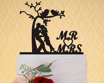 Wedding Cake Topper Mr and Mrs, Custom Cake Topper for Wedding, Love Birds Cake Topper, Rustic Wedding Cake Topper, Personalized Cake Topper